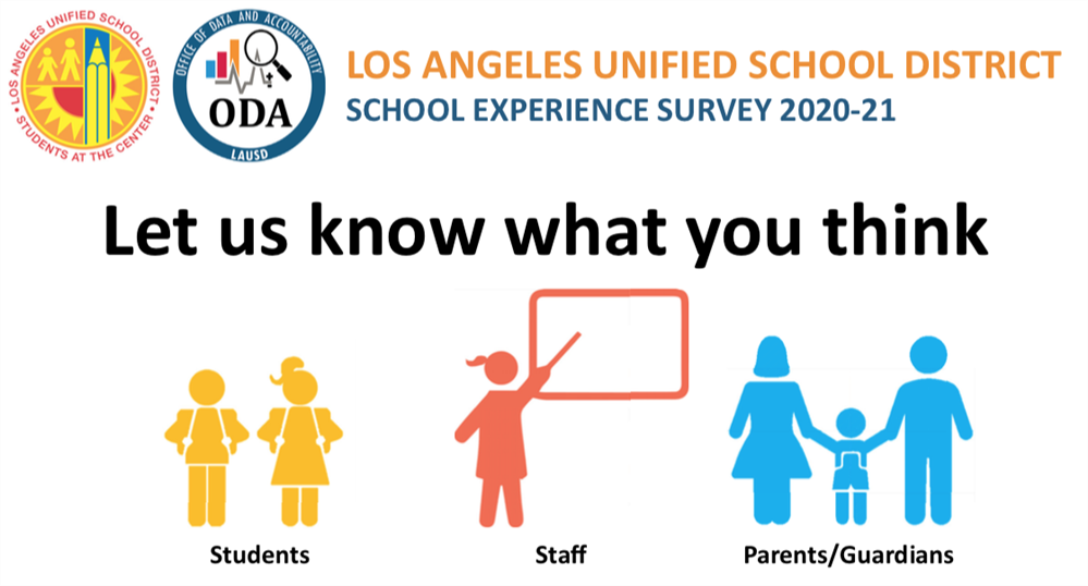 Parents! Please Complete the School Experience Survey from 10/26 to 12/11